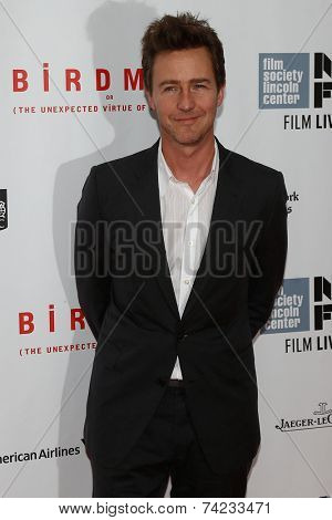 NEW YORK-OCT 11: Actor Ed Norton attends the Closing Night Gala Presentation of 'Birdman Or The Unexpected Virtue Of Ignorance' at the New York Film Festival on October 11, 2014 in New York City.