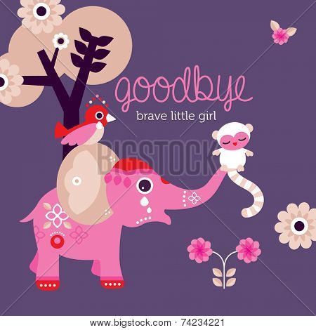 Goodbye little girl condolences after death baby daughter postcard cover design in vector