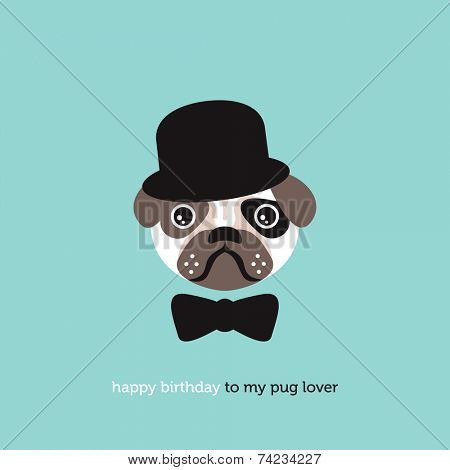 Hipster pug lover birthday postcard cover design illustration background