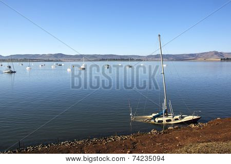 Sunken Yacht Off The Shore Of Midmar Dam
