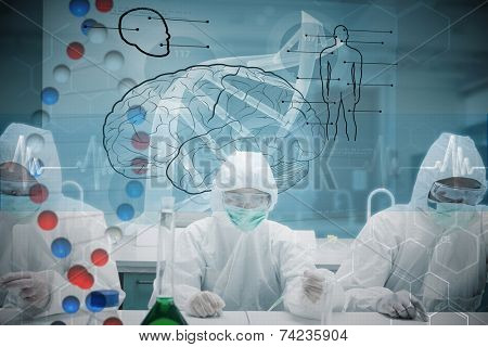 Chemists working in protective suit with futuristic interface showing DNA against dna helix in blue and red with ecg line