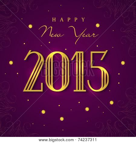 Happy New Year 2015 celebrations greeting card design with golden text on purple background.
