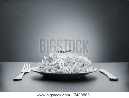 Shredded agreement on the plate