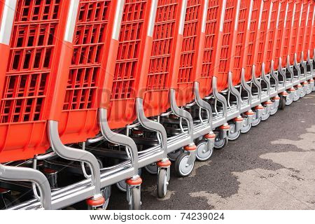 Abstract Parts Of Red Baskets-carts For Goods