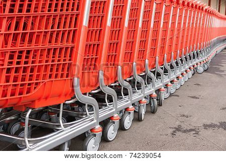 Red Plastic Fragments Of A Baskets-carts For Goods