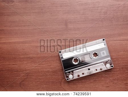 Audio cassette is lying on the table