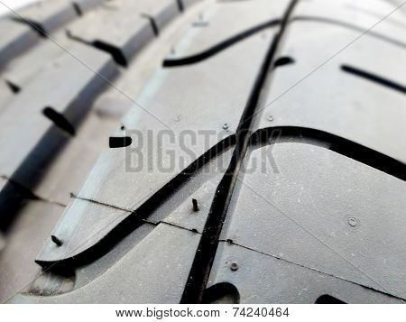 Tire Tread Closeup In A Tire Shop