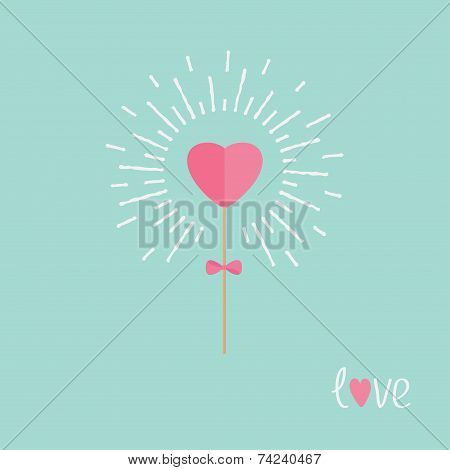 Heart On The Stick With Bow Shining Light Effect Word Love. Flat Design