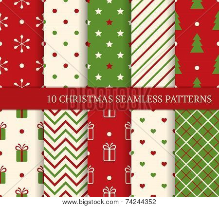 10 Christmas Different Seamless Patterns. Endless Texture For Wallpaper, Web Page Background, Wrappi poster
