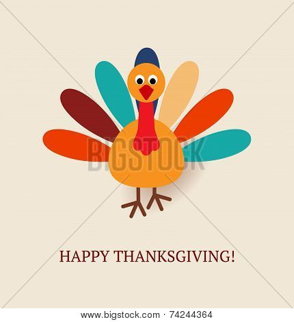 Cute Colorful Cartoon Of Turkey Bird For Happy Thanksgiving Celebration. Vector Illustration. Can Be