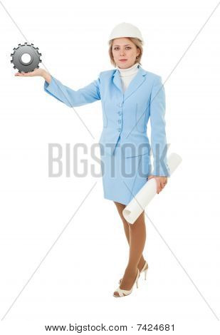 Adult Woman Offering Construction Solution