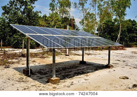 Solar Cell Panels In Village