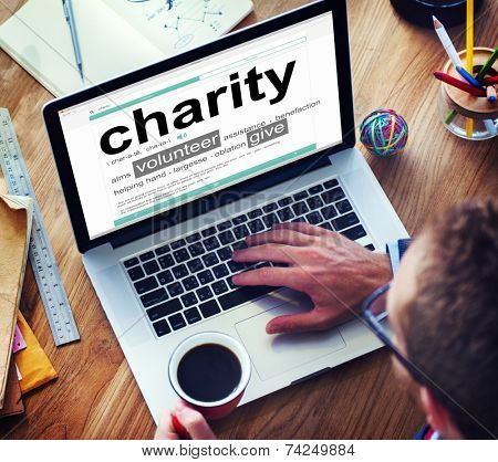 Man Reading the Definition of Charity