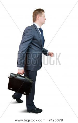 Going Businessman With Briefcase