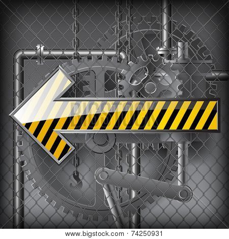 Yellow arrow against the gray technical background under wire netting