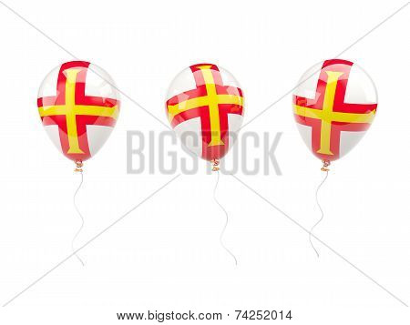 Air Balloons With Flag Of Guernsey