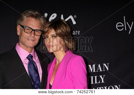 LOS ANGELES - OCT 18:  Harry Hamlin, Lisa Rinna at the Pink Party 2014 at Hanger 8 on October 18, 2014 in Santa Monica, CA