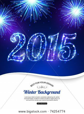 Happy New Year 2015 celebration concept on beautiful fireworks in the night. Shining Christmas backg