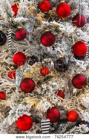 Many Red Christmas Baubles