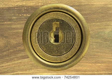 wooden drawer with locked key hole