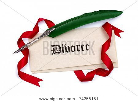 Divorce papers quill pen and red ribbon isolated on white