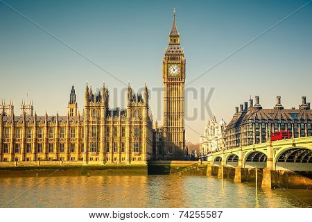 Big Ben and Houses of parliament at sunny morning