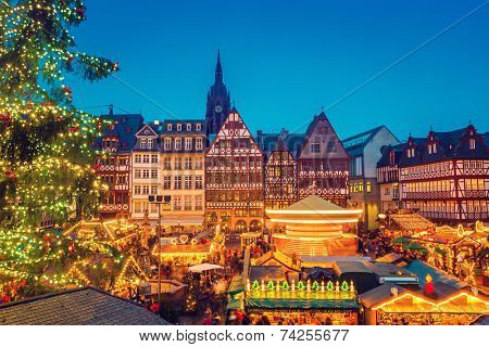 Traditional christmas market in Frankfurt, Germany