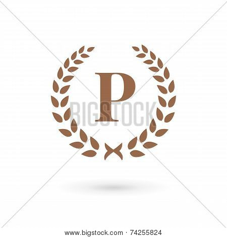 Letter P Laurel Wreath Logo Icon Design Template Elements