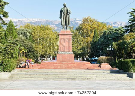 Lenin Sculpture On Square In Yalta City