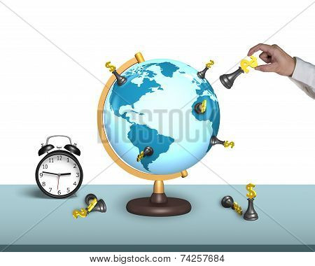 Hand Hold Dollar Chess On Globe With Clock