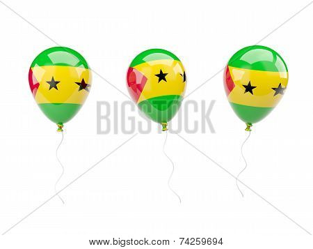 Air Balloons With Flag Of Sao Tome And Principe