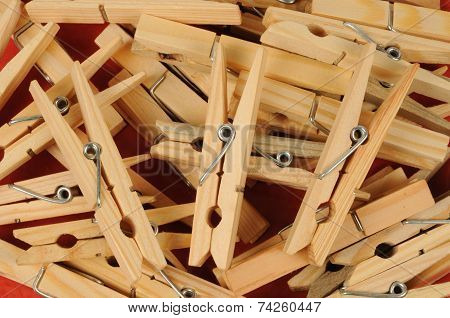 Close Up Of A Pile Of Clothes Peg