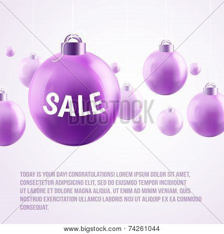 purple Christmas baubles, sale