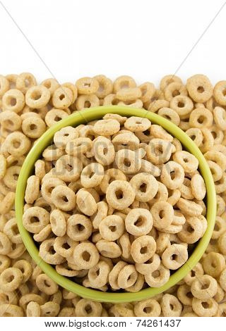 corn flakes rings in bowl  isolated on white background