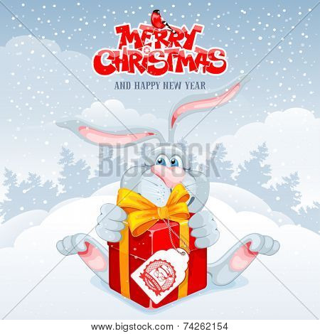 Christmas greeting card with cute rabbit and gift box on winter landscape background