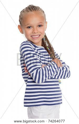 Portrait of a girl dressed as a cabin boy. Girl is six years old.