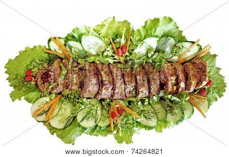 Meatloaf (beef) With Salad Over White Background