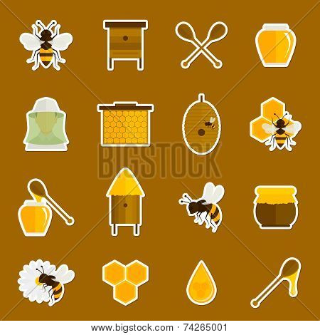 Bee honey icons stickers set