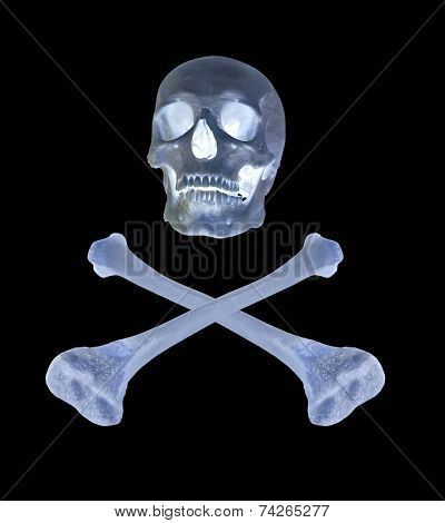 skull and bones isolated on black background