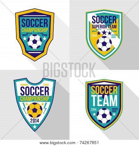 Set Of Soccer Championship Emblems