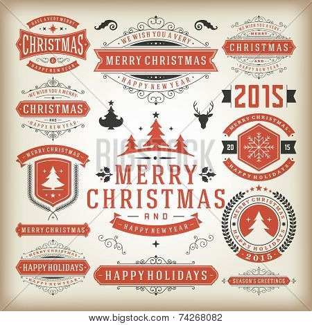 Christmas Decoration Vector Design Elements poster
