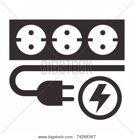 Power Outlet, Plug And Lightning Sign