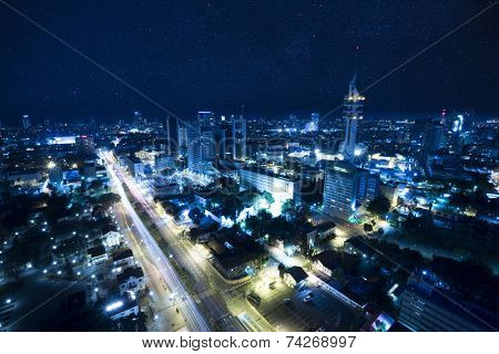 The night Tel Aviv city under Starry Sky - View of Tel Aviv at night - City at Blue .