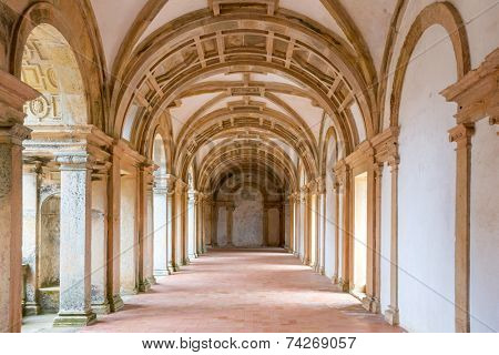 Tomar - Portugal - May 29 -The Convent of the Order of Christ Corridor on May 29, 2014. This is a Roman Catholic building in Tomar, Portugal, originally a Templar stronghold built in the 12th century.