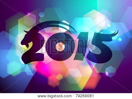 Vector 2015 new year design with goat and bokeh.
