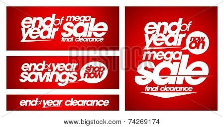 End of year mega sale banners set.