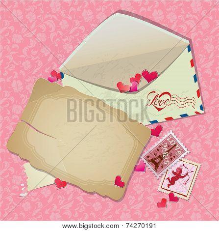 Vintage Postcard, Envelope, Post Stamps, Paper Hearts - Background For Valentines Day Or Wedding Des