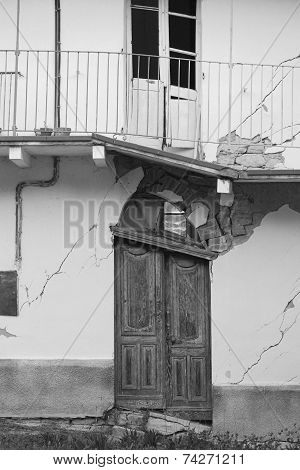 Ruined Door Caused By A Landslide, Piedmont, Italy.