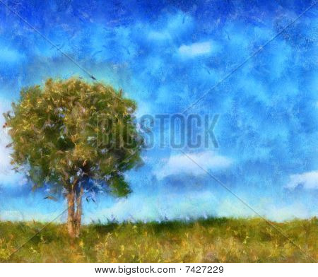 Illustration, Lonely Tree