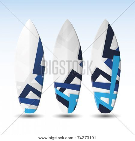Vector Surfboards Design Template with Abstract Blue Pattern